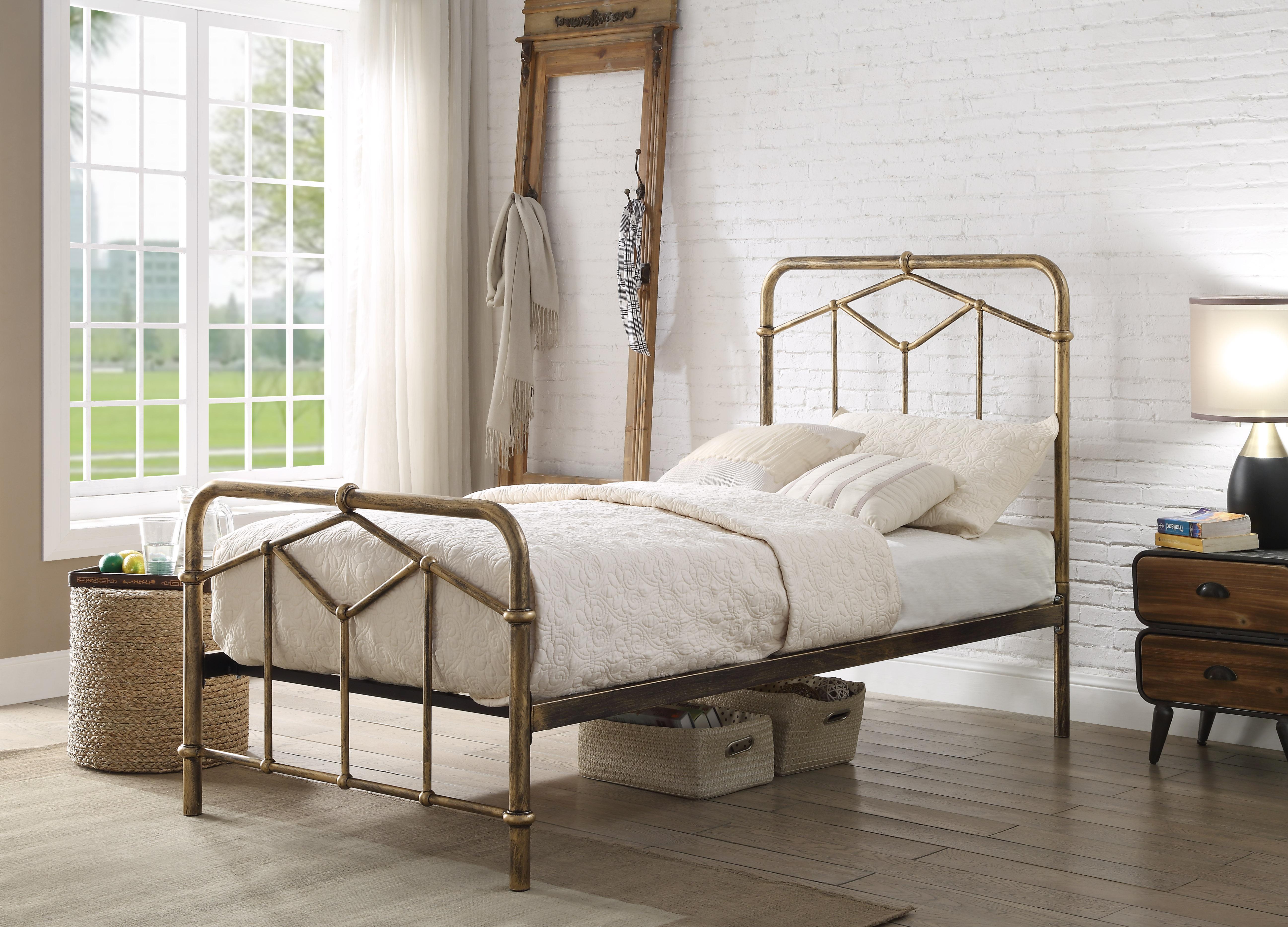 3ft Single Retro Bed Frame Antique Bronze Metal Rustic Industrial Tubular Helibeds