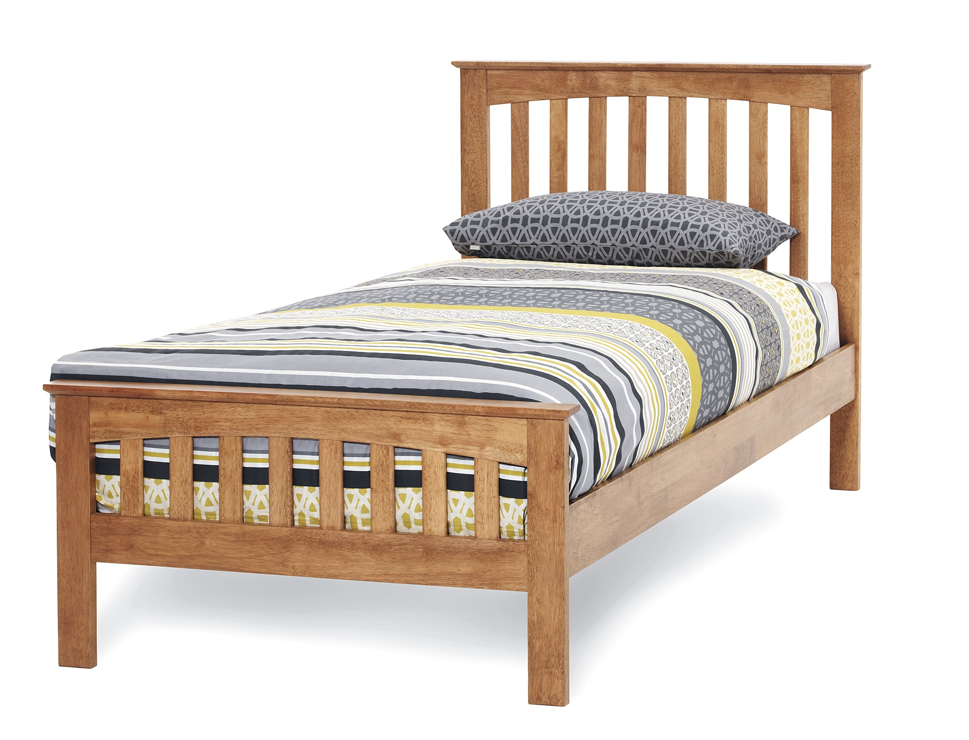 3Ft Single Leah Oak Finish Wood Frame Bedstead