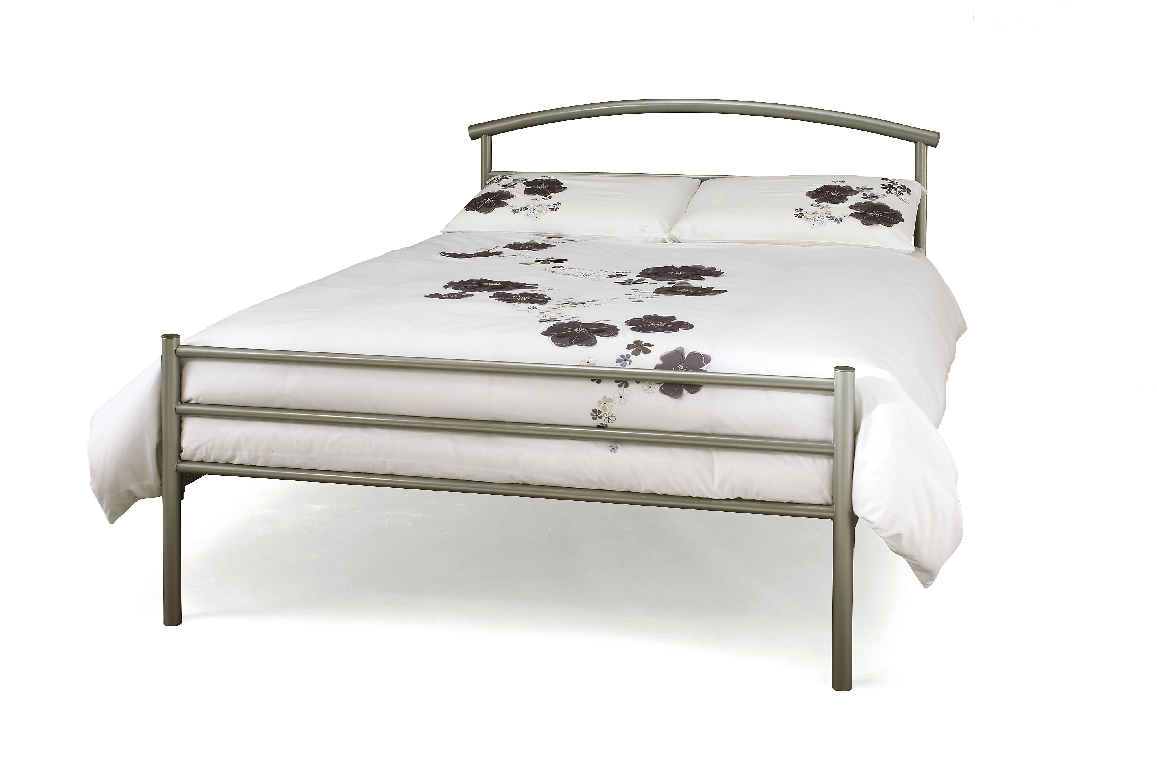 4ft Small Double Silver Grey Metal Bed Frame | Helibeds