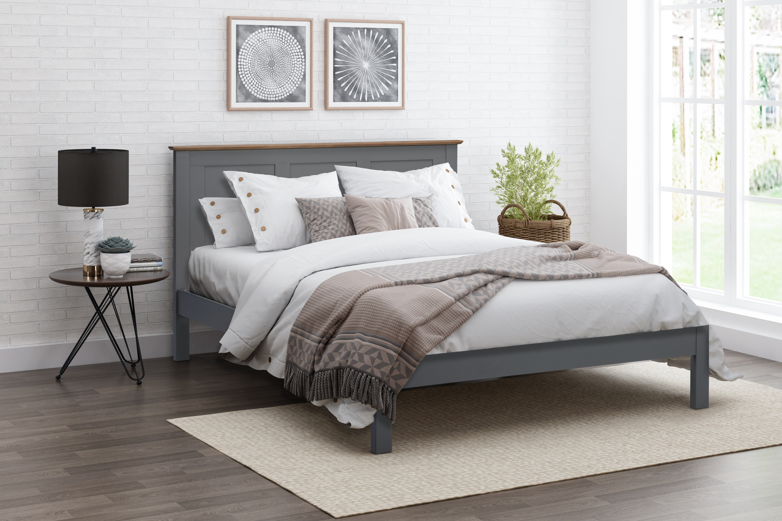 4ft6 Double Connor Grey Painted Solid Wood Bed Frame Bedstead Helibeds