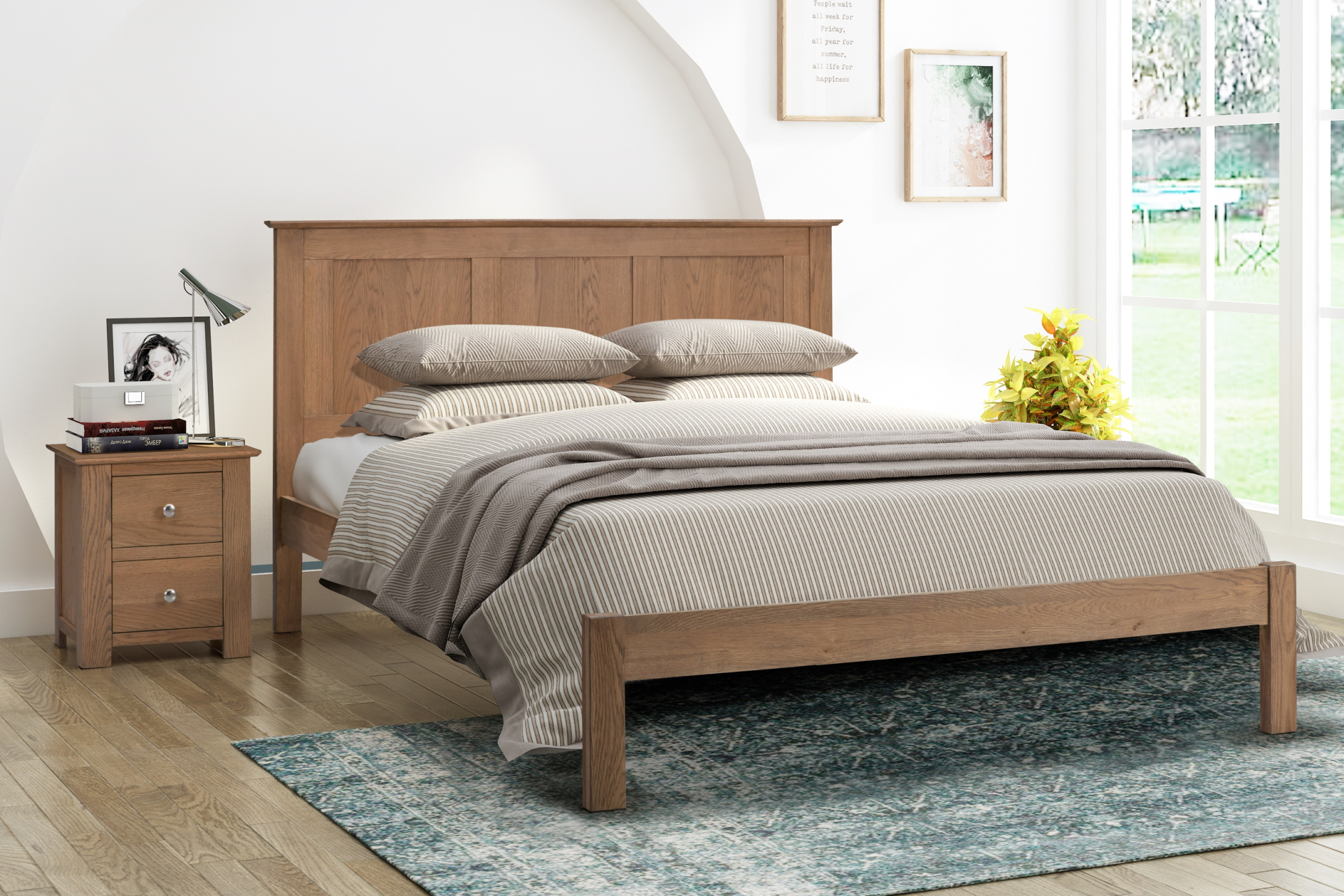 5ft King Size Connor Solid Strong Real Oak Wood Bed Frame Solid Panel Helibeds