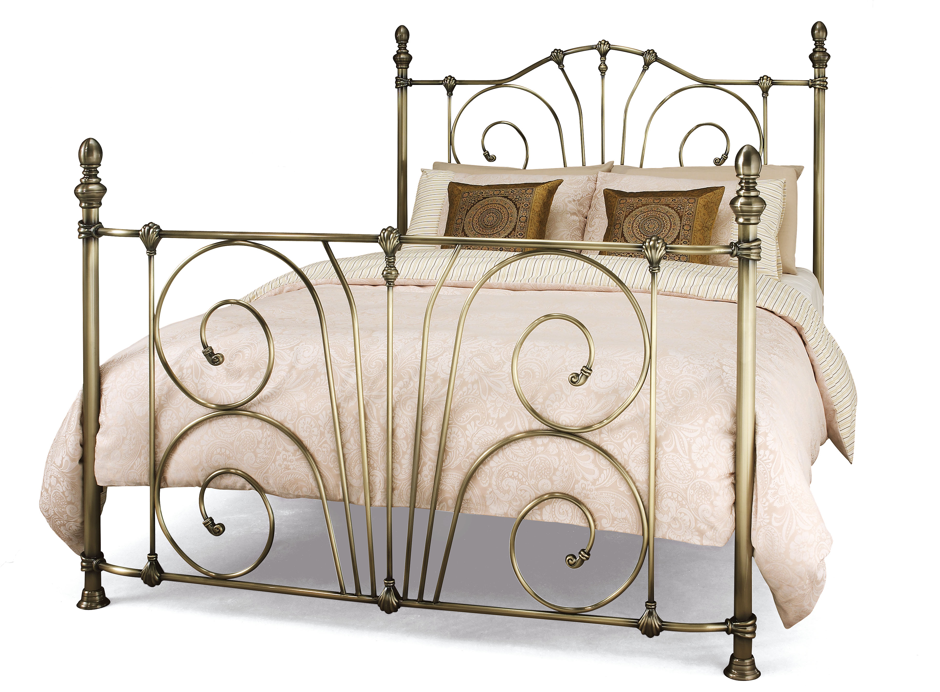 4ft small double Antique brass finish traditional metal bed frame ...