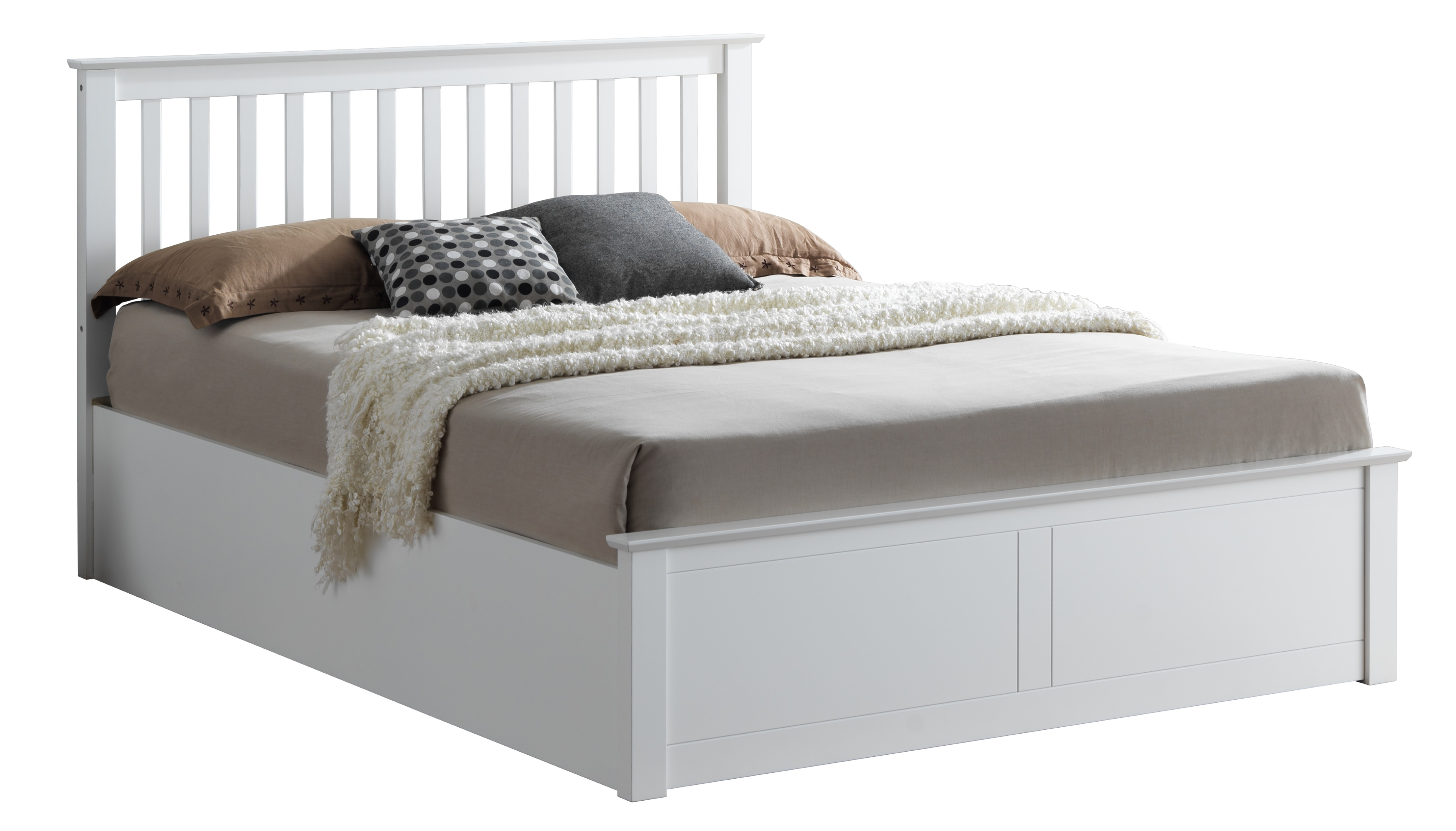 brand new 72cee a46e8 4ft Malmo White Wooden Ottoman Lift Up Storage Bed Frame