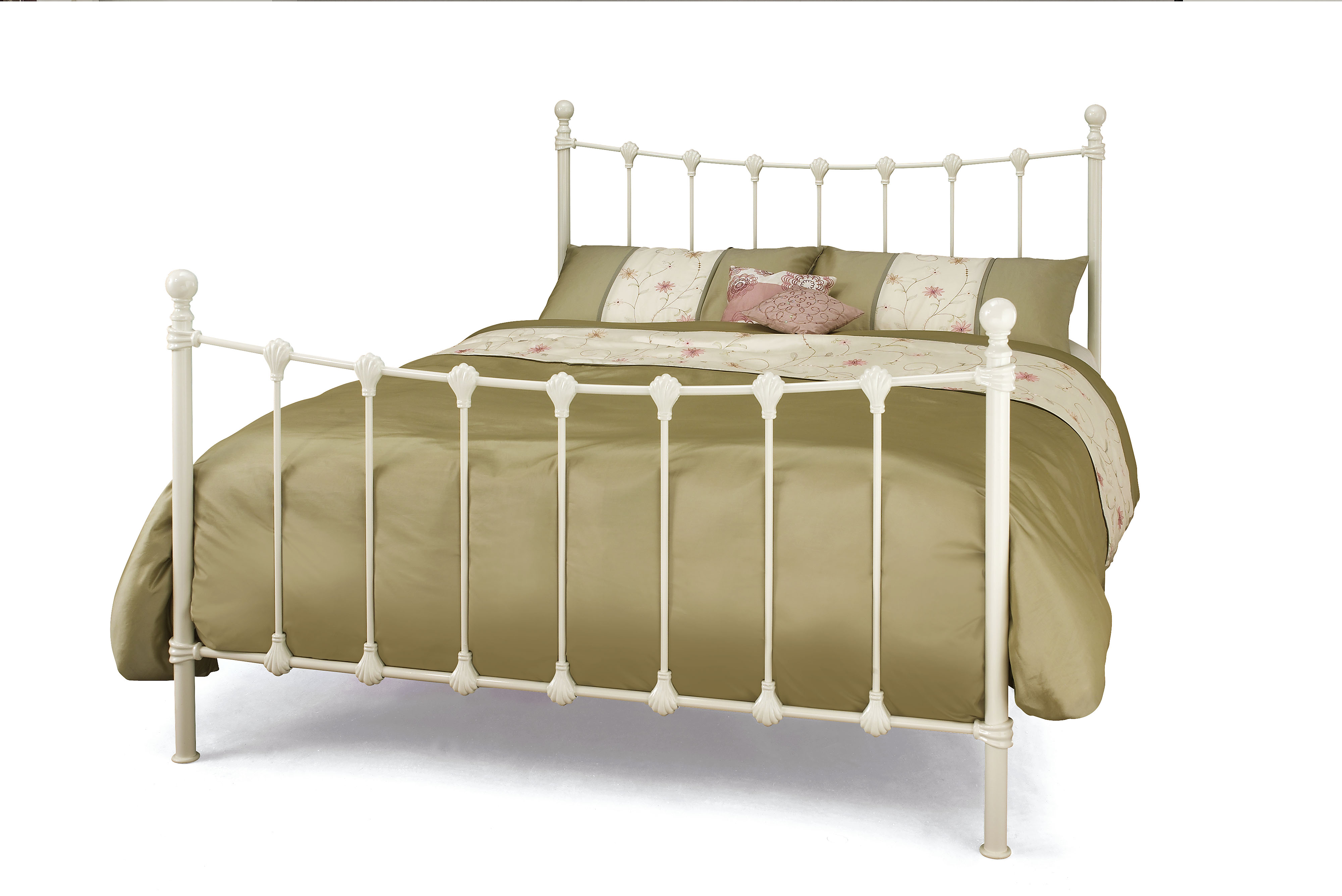 4ft6 Double white Marcel metal bed frame