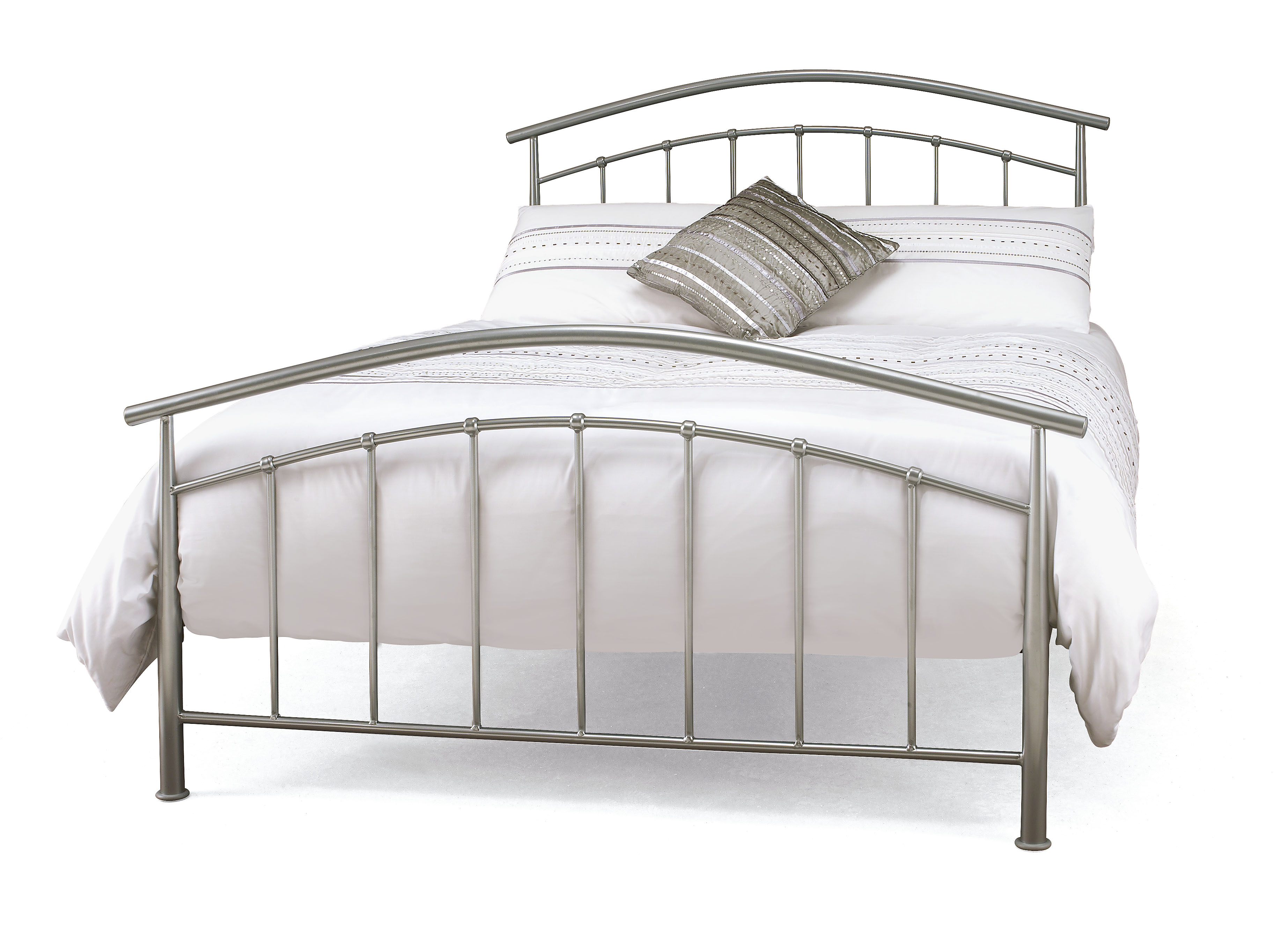 4ft Mercury Silver Metal Bed Frame Helibeds