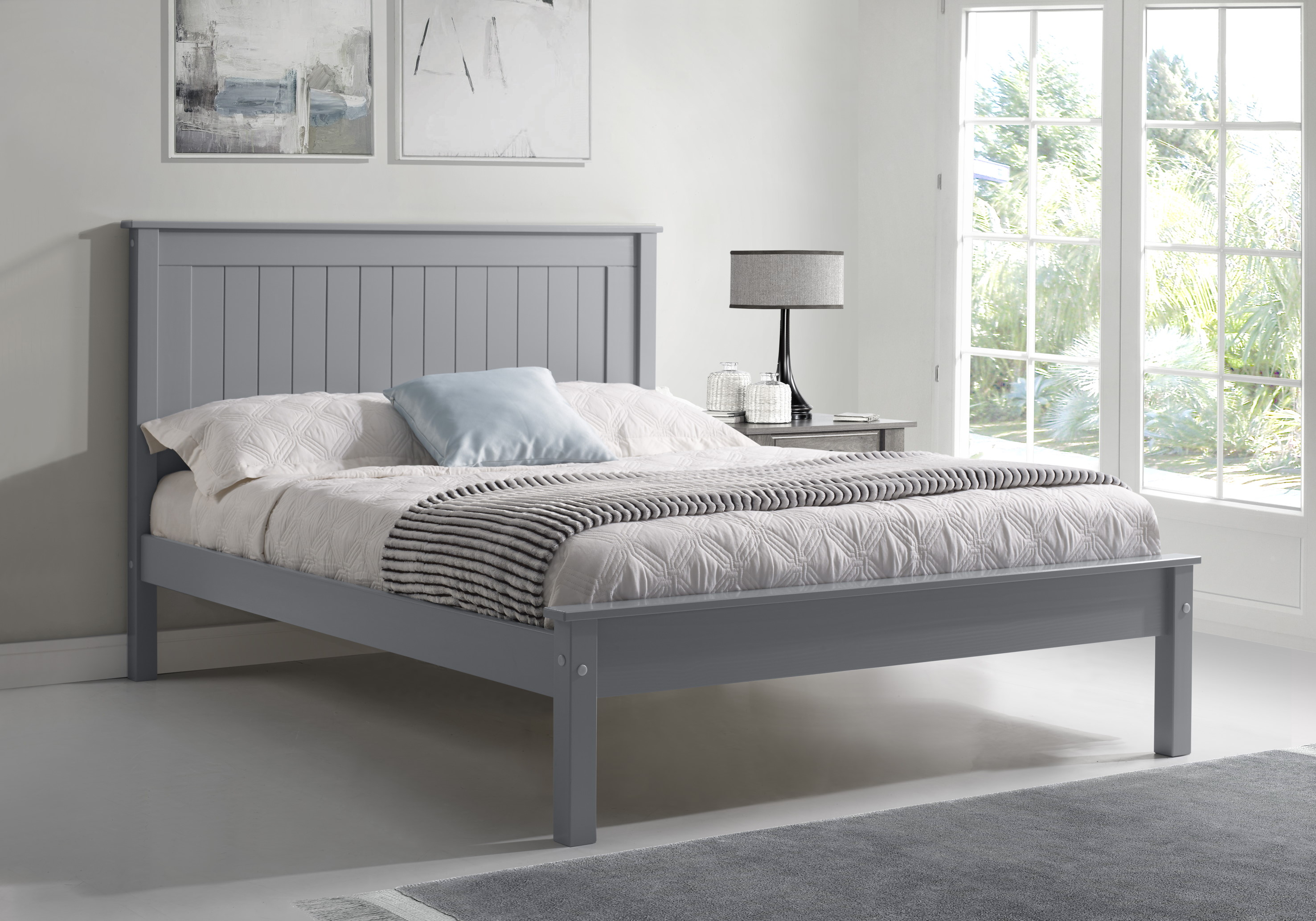 4ft6 Double Torre Grey Painted Wood Bed Frame Low Foot End Helibeds