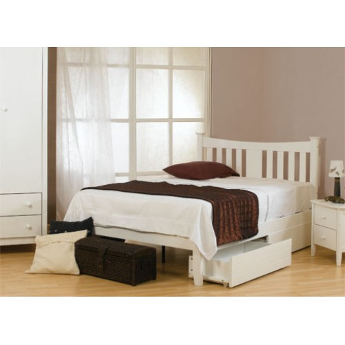 4ft6 Roseanna White Wood Finish Bed Frame