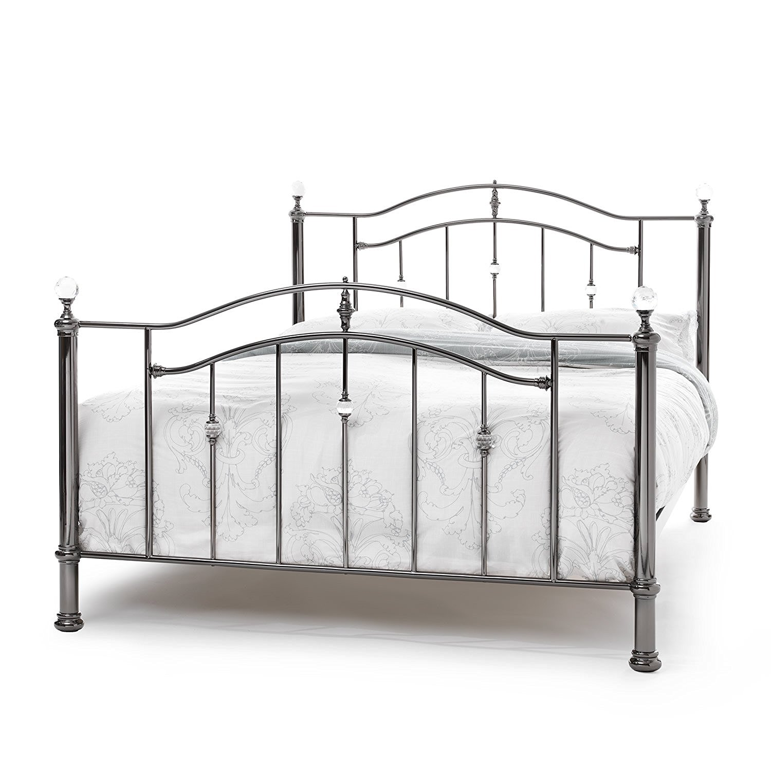 the best attitude a66fa 904b5 4ft Small Double black nickel & crystal ball finish traditional metal Bed  Frame