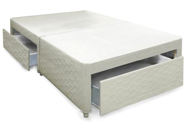 4ft small double beige bronze divan base 2 drawer bed for Double divan bed base with 4 drawers