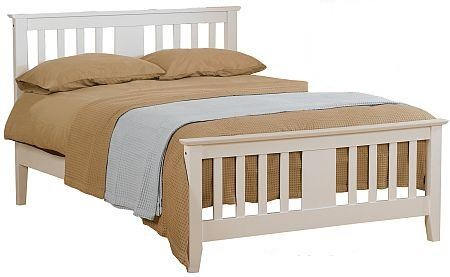 4ft Small Double Darcy White Finish Wood Bed Frame