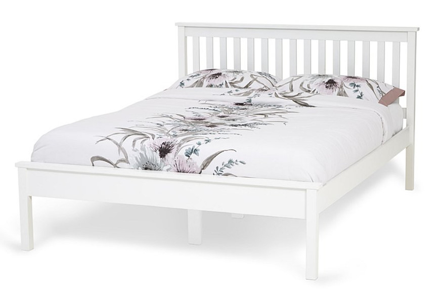 6ft Super King size Heva Low foot end white painted wood frame ...