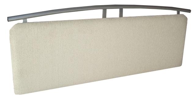 6ft Oatmeal Chenille + Steel Headboard