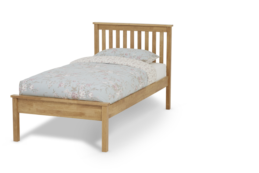 3ft single Heva Low foot end oak finish wood frame bedstead