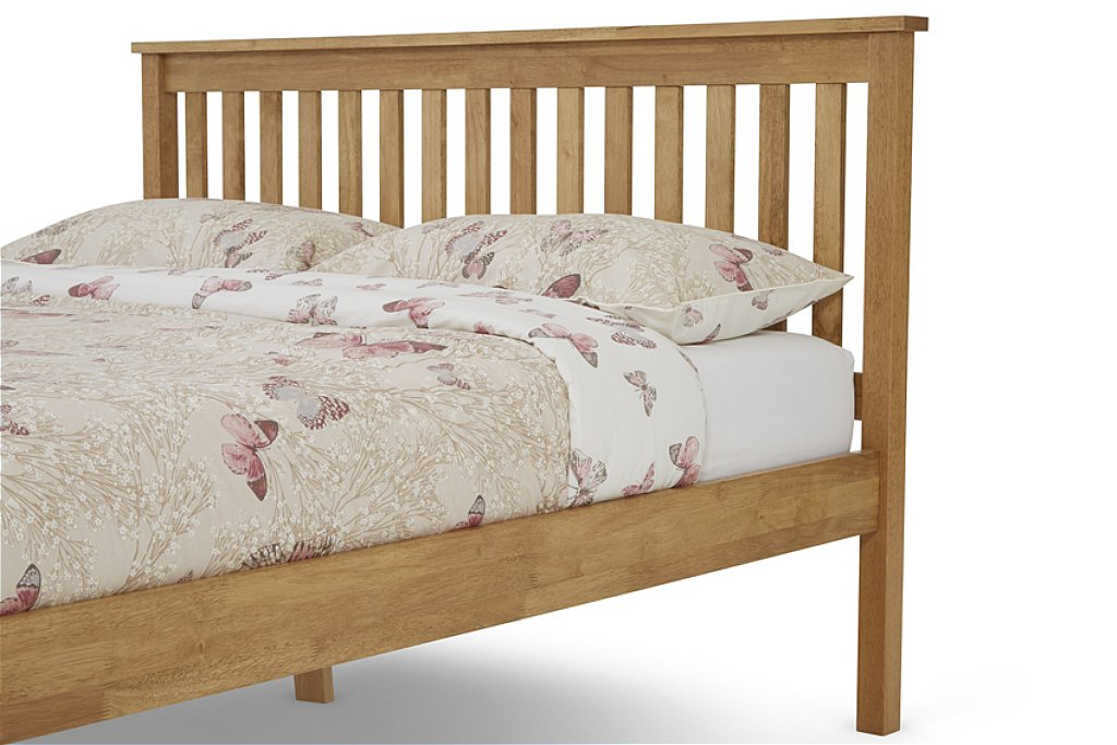 4ft small double Heva Low foot end oak finish wood frame bedstead