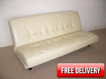Houston Cream Leather Sofabed