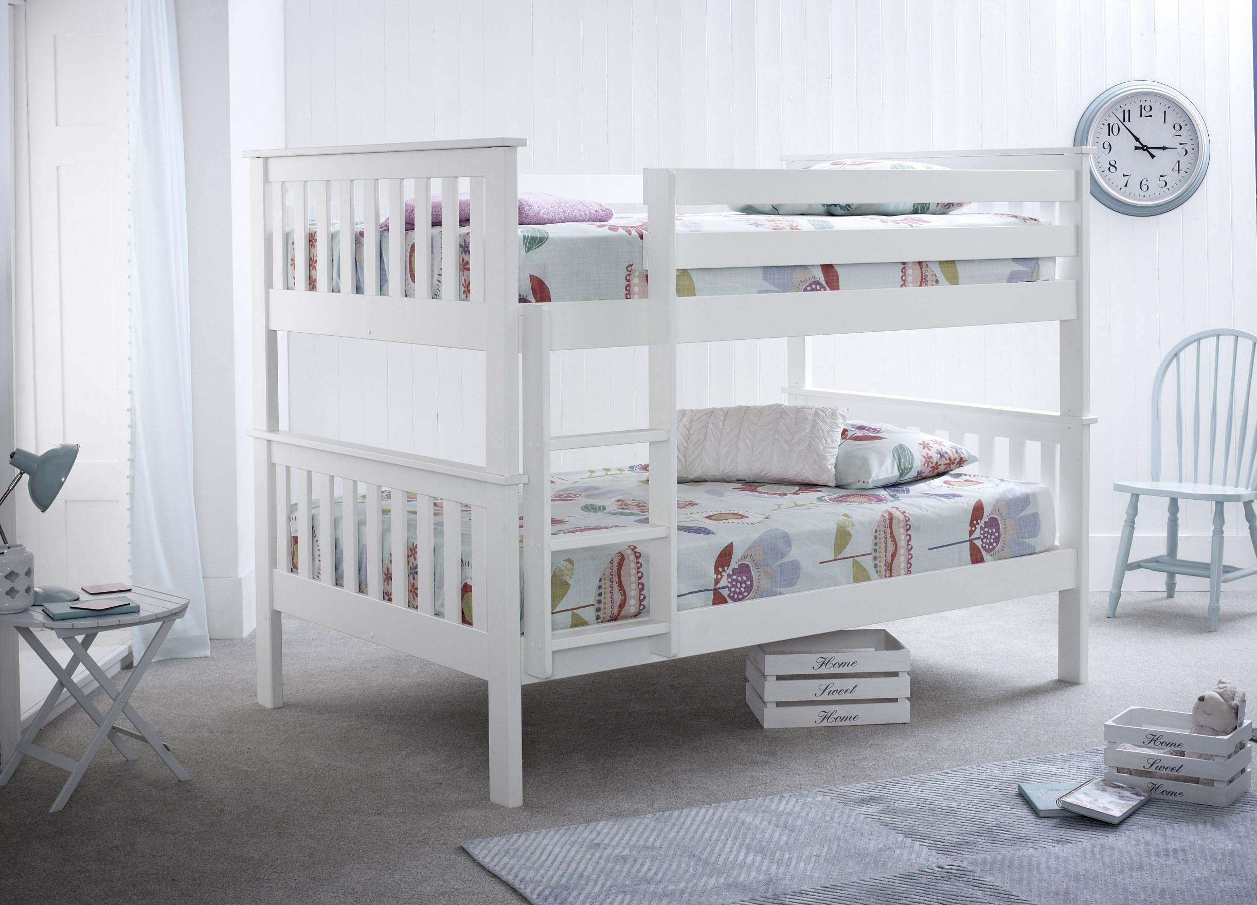 100% authentic 617b4 069ec 4ft + 4ft Double Bunk Bed. White Wood Double over Double Bunk Bed Set